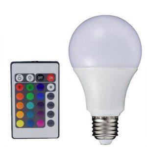 E27 RGB LED Λάμπα με τηλεκοντρόλ,αλλάζει 15 χρώματα 4 προγράμματα – RA80 DIOLAMP