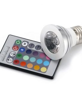 E27 RGB  3w LED Λάμπα με τηλεκοντρόλ,αλλάζει 15 χρώματα 4 προγράμματα – RW30 OEM