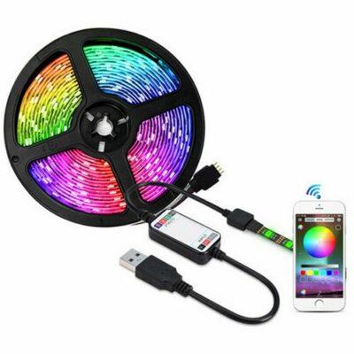 5m Bluetooth RGB 14.4W/m 60 led/m 5050 ταινία με χειρισμό απο κινητό ιδανική και για ατμοσφαιρική οθόνη  - ASN500 OEM