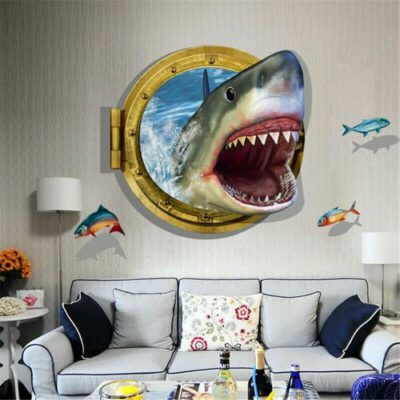 3D Αυτοκόλλητο τοίχου τρισδιάστατο φινιστρίνι καρχαρία και ψάρια  90X60 - 3DSHR OEM