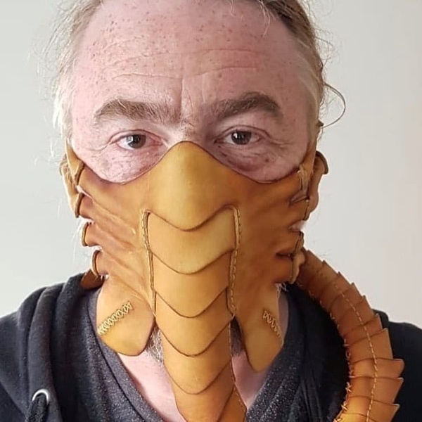 Μάσκα προσώπου Facehugger εξωγήινος alien σκορπιός από δερματίνη    - FCHG2023 OEM