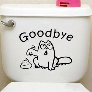 Αυτοκόλλητο τοίχου και τουαλέτας ιδανικό για καζανάκι μπάνιου με γάτα καρτούν 19X15cm - CC191 OEM